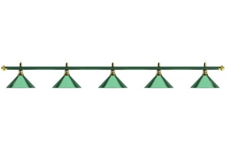 Лампа на пять плафонов «Allgreen» (зелёная штанга, зелёный плафон D35см)